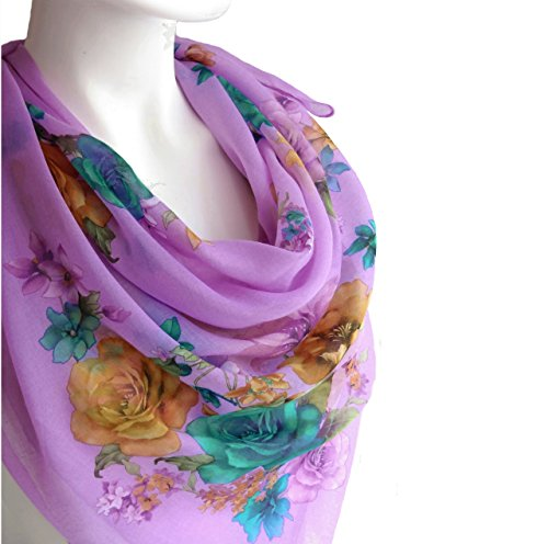 Pale Purple Scarf Spring Women's Fashion Accessories Lightweight Cotton Large Square Floral Print Scarf Shawl Wrap 38 x 38 inches
