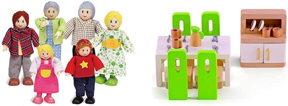 Happy Family Dollhouse Set by Hape |Award Winning Doll Family Set, Unique Accessory for Kid's Wooden Dolls House, Imaginative Play Toy & Wooden Doll House Furniture Dining Room Set