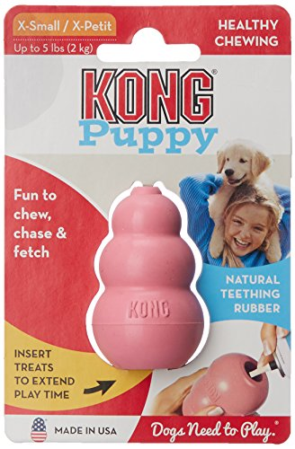 KONG Puppy Goodie Bone Dog Toy, Small, Assorted Pink/Blue