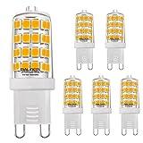 BALDER G9 5W LED Bulb,(50W Equivalent), Bi Pin Base, Warm White 3000K, Non-Dimmable, (6-Pack)