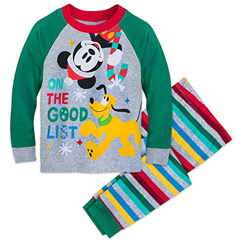 (Disney Santa Mickey Mouse and Pluto Pajamas for Kids Size 6 Multi)