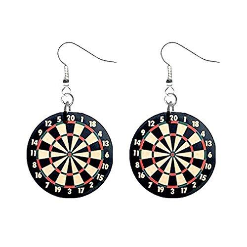 Dartboard Dart Board Dangle Novelty Earrings Jewelry 1 Inch Metal Buttons 12240173