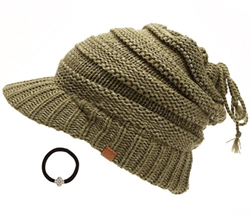 D&Y Women's Beanie Tail Cable Knit Visor Ponytail Beanie Hat with Hair Tie.(Olive)
