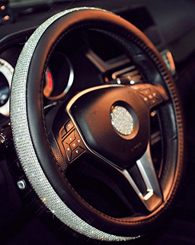 - ISTN Steering Wheel Cover,with PU Leather Bling Bling Rhinestones Case (Silver Black)