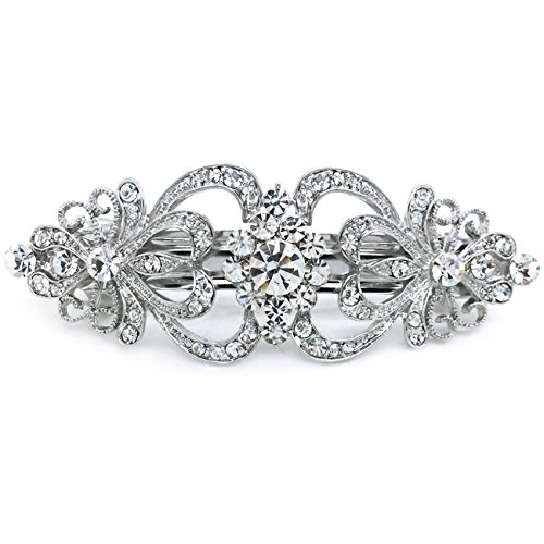 Hair Barrette Hearts and Flowers Rhinestone Crystal Wedding Hair Accessory