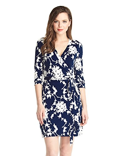 GRAPENT Women's True Wrap 3D Blue and White Floral Knee Length Dress Formal Work US 18