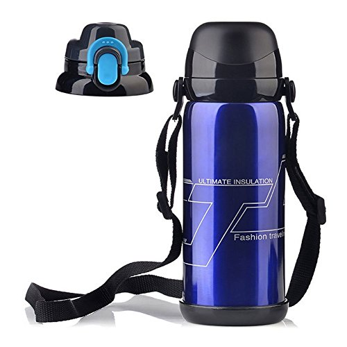 WayOn Vacuum Flask Thermos Insulated Water Bottle Travel Mug Cup Pot Insulation Kettle,304 Double Walled Stainless Steel Leak Proof with Straps,Two Lid,32oz/800ml
