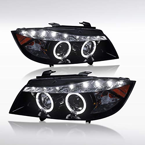 Autozensation For BMW E90 3-Series 4Dr [Glossy Black] LED Halo Projector Headlights Pair