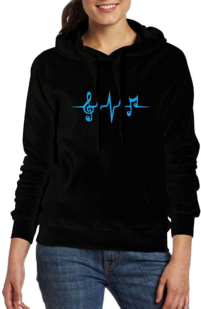 Ou40IL@WY Womens Musical Notes Heartbeat Hooded Fleece Athletic Cotton Fleece Hoodie with Pocket for Women