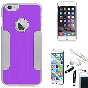 [STOP&ACCESSORIZE] PURPLE SILVER DUAL LAYER COVER METAL CHROME CASE for APPLE IPHONE 6 PLUS + FREE ACCESSORIES