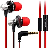 Earbuds, Alpatronix® [EX100] Universal High Performance Stereo In-Ear Headset with Built-in Microphone, Noise Isolating Earphones, Tangle-Free Headphones, Premium Metallic Alloy Housing, Enhanced BASS & 1-Button Playback Control for Android/iOS Smartphones, Desktop PC, Tablets, Laptops & MP3 Players [Retail Packaging with Carrying Pouch] - (Red/Black)