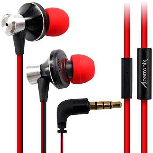 Earbuds, Alpatronix EX100 Universal 1-Button High Performance Stereo In-Ear Headset with Built-in Mic, Tangle-Free Noise Isolating Earphones for Smartphones, Computers, Tablets & Laptops - (Red/Black)
