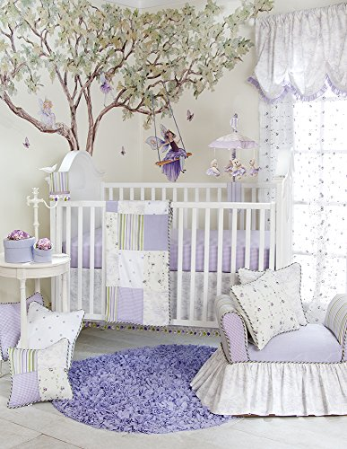 Skirt Crib Jean Cotton Glenna (Glenna Jean Penelope 3 Piece Quilts Set, Lavender/Mint/White)
