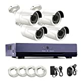 AMOCAM 1080P 2-Megapixel (1920 x 1080p) IP POE Video Security System and 4 Weatherproof HD Security Cameras with 100ft Night Vision, Power Over Ethernet, Home Surveillance POE System(No HDD)