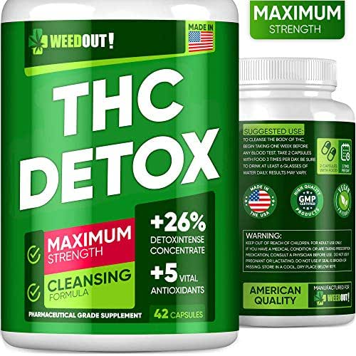 WEEDOUT THC Detox - Drug Cleanse & Toxins Remove - Made in USA - Liver Detox, Urinary Tract & Kidney Cleanse - 5 Vital Antioxidants - Milk Thistle & Dandelion Extract - Vegan Friendly - 42 Capsules