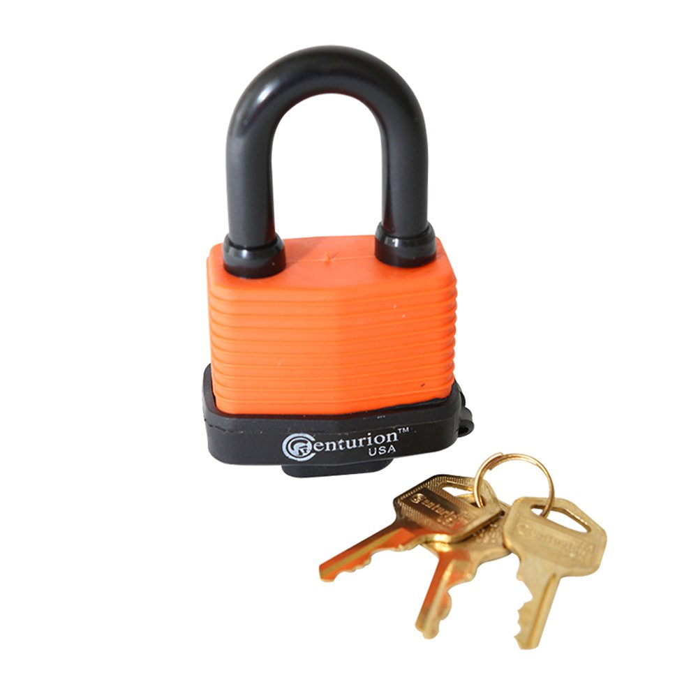 Centurion WPP Laminated Waterproof Padlock, Wide Body - Weather Resistant Outdoor Padlock, 3 Keys Included (40mm Body)