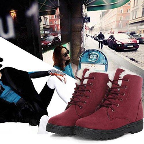 Amiley Dames Enkellaars Plat Leger Vet Strik Gevoerd Winter Warm Snowbooties Rood