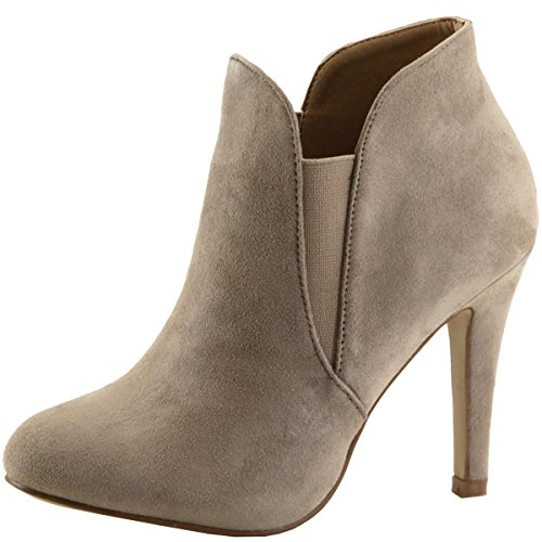 Imsu Heel Slip Women's Ankle On Light Taupe Stiletto Bella Marie Bootie wSafxx4