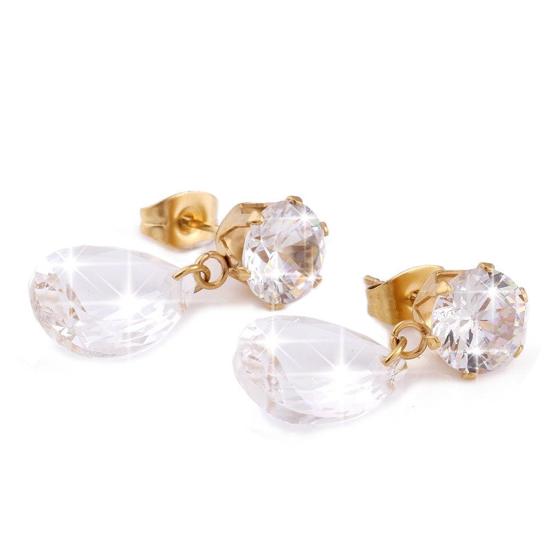 93ba54d629ab Dana Carrie La atmósfera elegante y elegante en forma de gota de cristal  oro titanio mujer