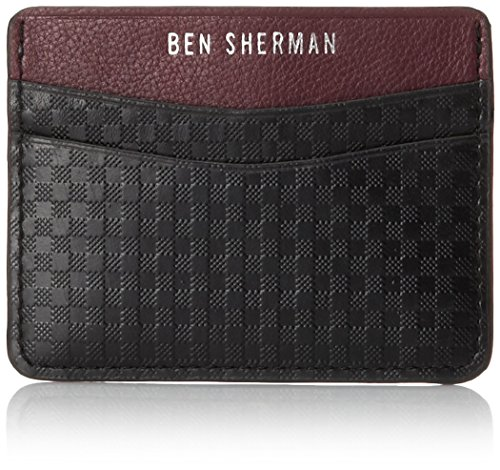 Ben Sherman Men's Embossed Leather Gingham Card Holder