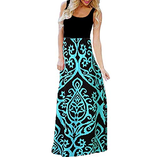 - Rambling Women's Summer Boho Empire Chevron Ethnic Style Geometric Sleeveless Floral Print Tank Top Long Maxi Dress