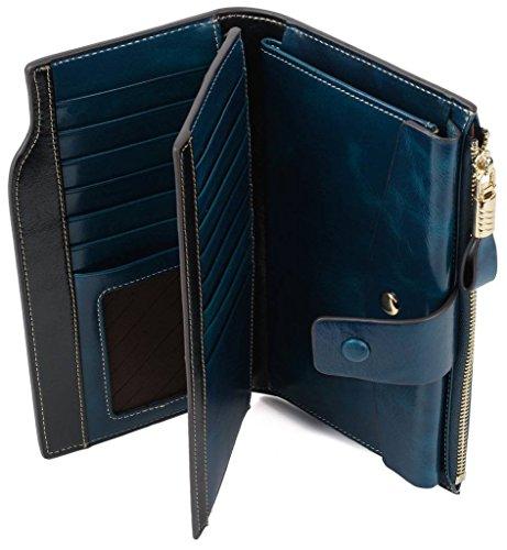 YALUXE Women's Wax Genuine Leather RFID Blocking Clutch Wallet Wallets for Women Blue by YALUXE (Image #5)