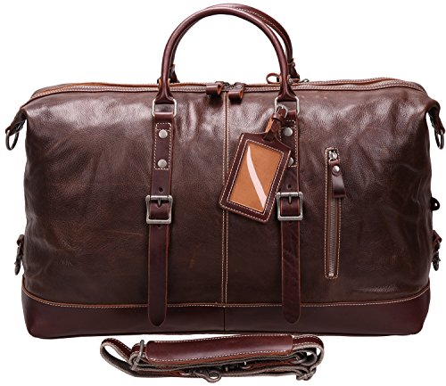 Iblue Genuine Leather Travel Duffel Weekend Bag Luggage Carry On Gym Handbag D05(dark brown) by iblue (Image #2)