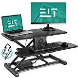 EleTab Electric Height Adjustable Standing Desk Converter Sit to Stand up Power Riser 32' Black Tabletop Workstation fits Dual Monitor