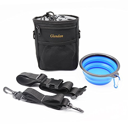 Glendan Dog Treat Training Pouch With Collapsible Pet Bowl Easily Carries Pet Toys, Kibble, Treats,Keys – Built-In Poop Bag Dispenser, etc.