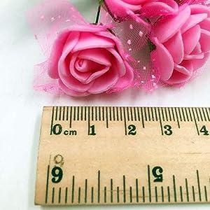 Roses Fake Flowers Heads Artificial Rose Flowers DIY 144 PCS Head Rose Flowers Wedding Bride Bouquet PE Foam DIY Party Festival Home Decor Rose Flowers (Black) 3