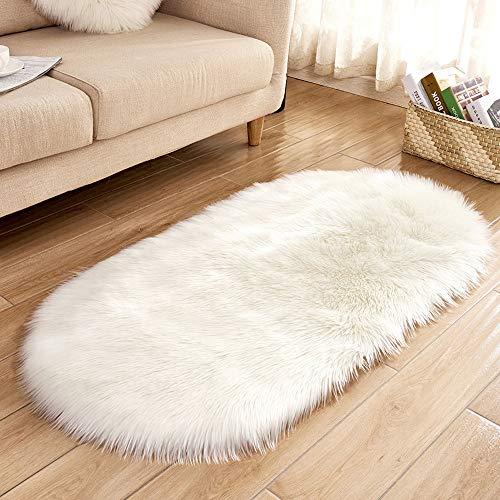 Artificial Sheepskin Rug, Elevin(TM) Soft Rug Chair Cover Artificial Sheepskin Wool Warm Hairy Carpet Seat Mats Rug (Small, White)