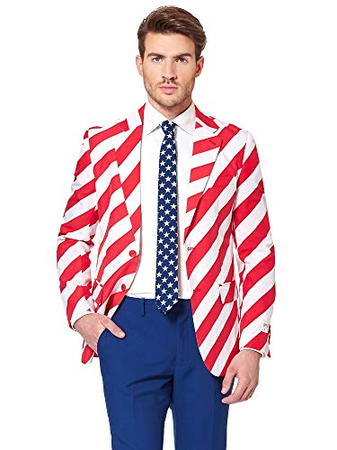 Opposuits American Flag Suit for Men USA Outfit for The 4th of July with Pants, Jacket and Tie,United - Suit English Pants