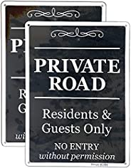 """J.DXHYA Tin Poster Metal Sign Private Road Residents&Guests Only No Entry Without Permission 12*8"""" Ru"""