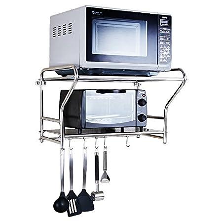 LPYMX Cucinotto da cucina in acciaio inox, cremagliera multifunzione da cucina a parete con porta forno a microonde (dimensioni : 54x40x36cm)