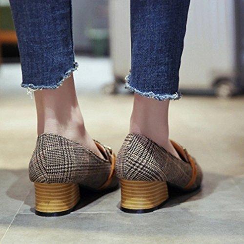 Giy Femmes Pompes Classiques Mocassins Boucle Bout Pointu Slip-on Grille Bloc Talon Robe Mocassins Pompe Chaussures Gris