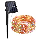 AYY Solar String Lights Outdoor, 4 Colors Starry Lights 100 Led 33' Waterproof Copper Wire Fairy Ambiance Lighting with 2 Modes for Garden, Patio, Wedding, Christmas Party and Holiday Decoration