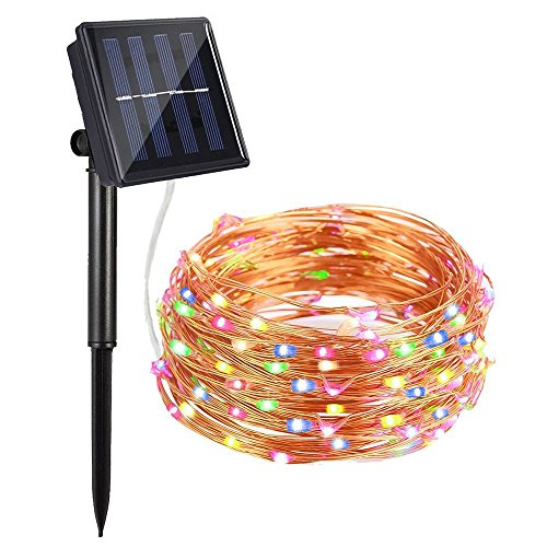 AYY Solar String Lights Outdoor, 4 Colors Starry Lights 100 Led 33' Waterproof Copper Wire Fairy Ambiance Lighting with 2 Modes for Garden, Patio, Wedding, Christmas Party and Holiday Decoration - Solar Screen Wire