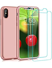 iPhone X Case With [2 Pack Tempered Glass Screen Protector] For Apple iPhone 10