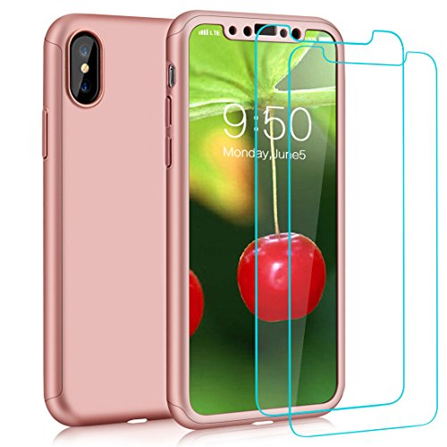COOLQO iPhone X Case, 360 Full Body Coverage Protection 2in1 Ultra-Thin PC Hard Slim Protective Cover With [2 Pack Tempered Glass Screen Protector] For Apple iPhone X/10 5.8 Inch (Rose - T Iphone Eye Shirt