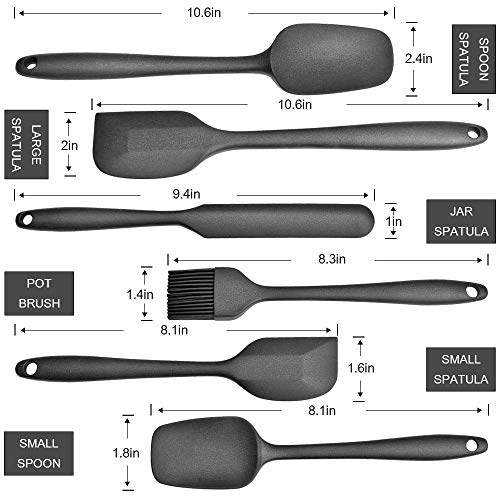 Silicone Spatulas Set, Rubber Spatulas, Food Grade Silicone, BPA-FREE, SGS Certification, Heat Resistant, Non-Sticky, Seamless Design, Great For Cooking and Baking, Dishwasher Safe, 6 Pcs, Black