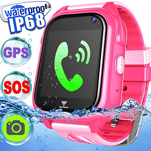 IP68 Waterproof Kid Smart Watch Phone GPS Tracker Touch Screen Smartwatch 3-12 Year Girls Boys Holiday Birthday Gift Game Watch Positioning SOS Camera Anti-Lost Chat Live Mobile App (Pink)]()