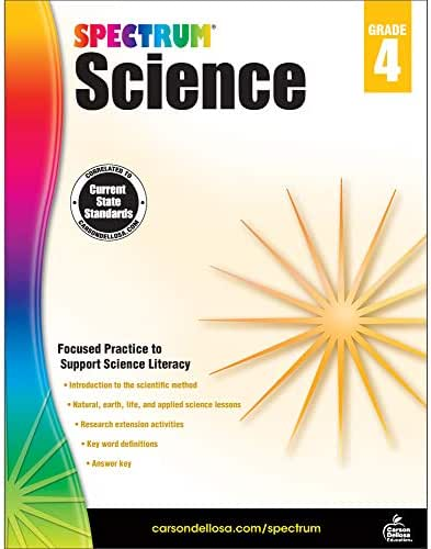 Carson Dellosa – Spectrum Science, Focused Practice to Support Science Literacy for 4th Grade, 144 Pages, Ages 9–10 with Answer Key
