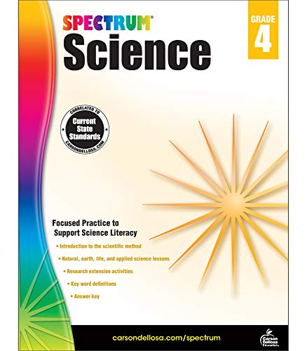 Carson Dellosa - Spectrum Science, Focused Practice to Support Science Literacy for 4th Grade, 144 Pages, Ages 9-10 with Answer Key