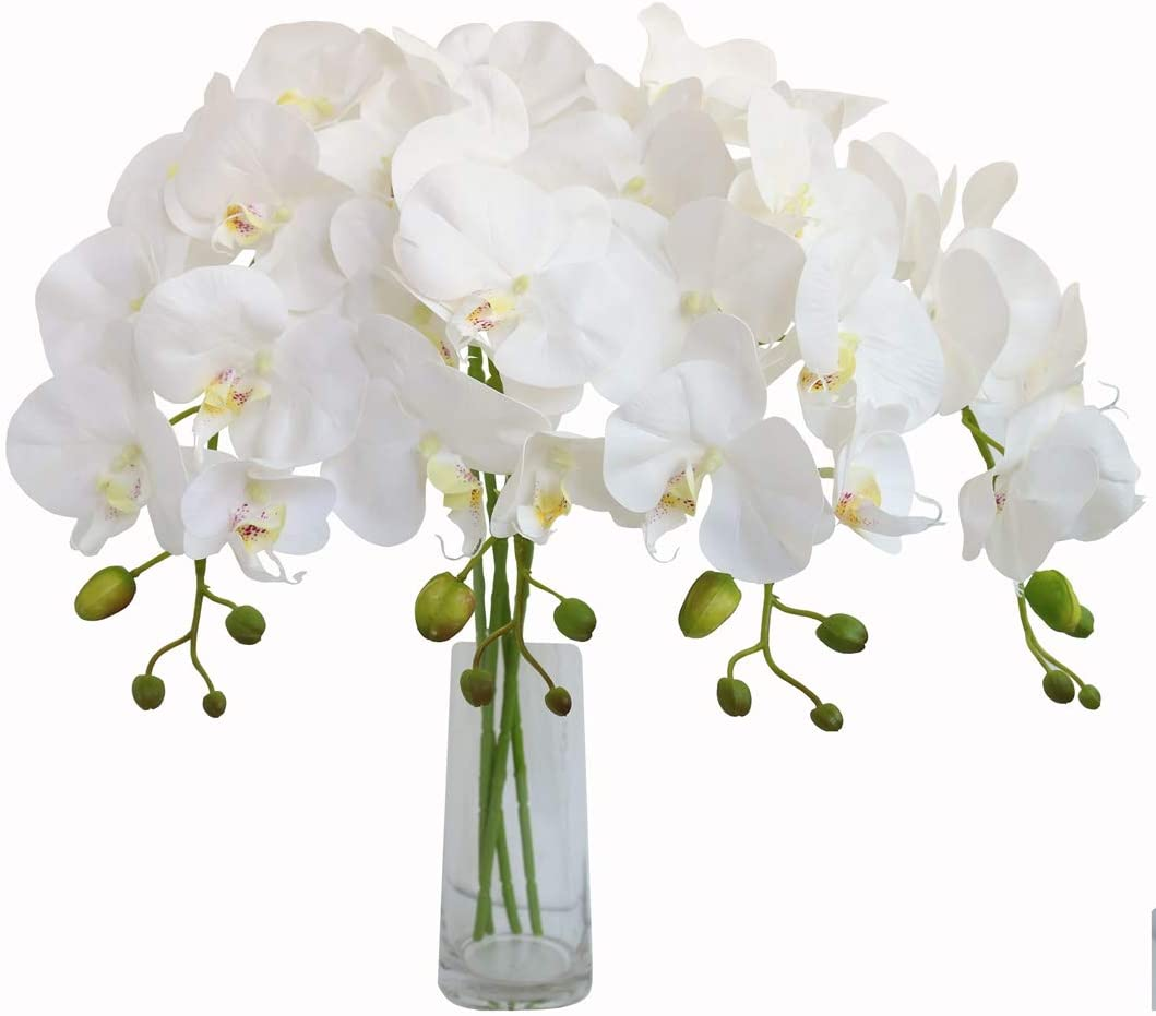 Jasming 4pcs Real Touch Orchid Flowers Artificial Branches Green Stems Arrangement for Wedding Home Garden Decoration (White)