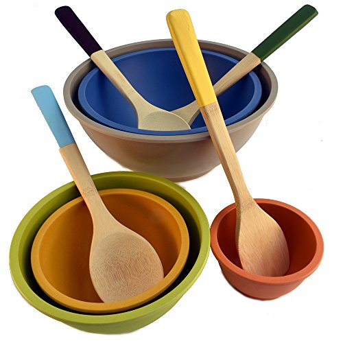 Bamboo Composite Nesting Mixing Bowls (5) and Bamboo Kitchen Tools with Color Handles (4), Set of 9 Total Pieces