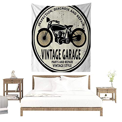 alisoso Tapestry,Man Cave Decor,Grunge Rubber Stamp Vintage Garage Custom Motorcycle Repair,Eggshell Black Light Orange W39 x L39 inch Apartment Decor Collection