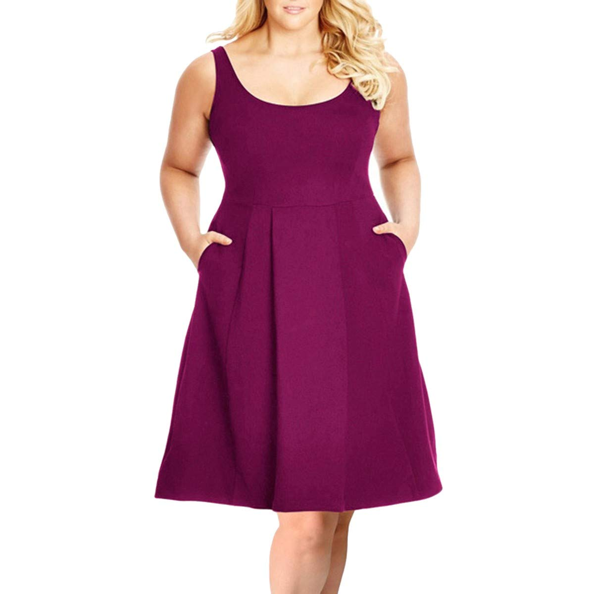 71d89e756c3 Classic solid color women s plus size tank dress with pockets featuring  soft stretchy fabric