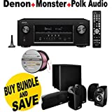 Denon AVR-S910W 7.2 Full 4K Ultra HD Channel Receiver With Bluetooth/HDCP2.2 + Polk Audio 5.1 TL1600 Speaker System + Monster - Platinum XP Clear Jacket MKIII 50 Compact Speaker Cable - Clear/Copper Bundle