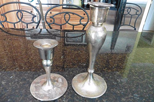 """Genric Pottery Barn Silverplate candlesticks LOT of 2 Candle Holders 6"""" & 10"""""""