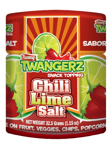 Twang Twangerz Flavored Salt Snack Topping - Lime, Lemon Lime, Chili Lime & Dill Pickle (Chili Lime, 4 Pack)